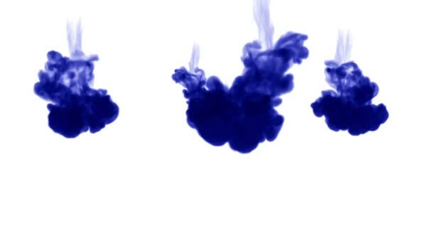 blue ink dissolves in water on white background with luma matte. 3d render of computer simulation. V1
