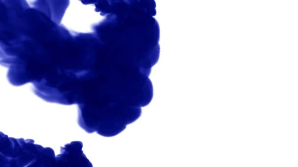 blue ink dissolves in water on white background with luma matte. 3d render of computer simulation. V4