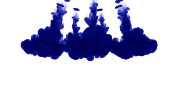 blue ink dissolves in water on white background with luma matte. 3d render of computer simulation. V10