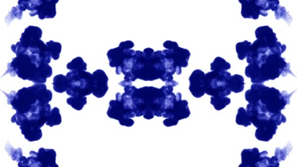 blue ink dissolves in water on white background with luma matte. 3d render of computer simulation. V2 kaleidoscope effect