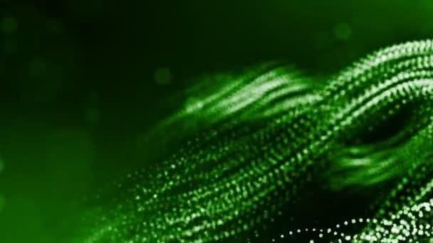 3D vykreslování svítící částic jako science fiction nebo moderní abstraktní zelené pozadí částic s hloubkou ostrosti a bokeh jako vj smyčka. Částice tvoří linie a vlnité struktury. 3