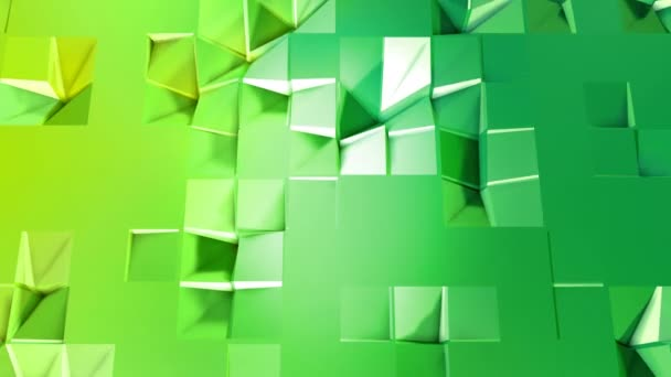 4 k alacsony poly háttérben animáció hurok. 3d animáció zökkenőmentes modern geometriai alacsony poly stílusban, átmenetes színek. Kreatív egyszerű háttér. V3 zöld repülőgép hely másolás