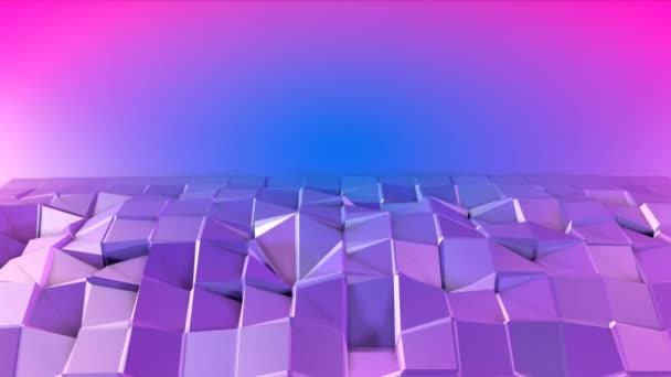 4 k alacsony poly háttérben animáció hurok. 3d animáció zökkenőmentes modern geometriai alacsony poly stílusban, átmenetes színek. Kreatív egyszerű háttér. Lila v1 síkon másol hely