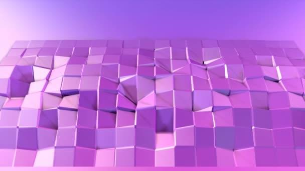 4 k alacsony poly háttérben animáció hurok. 3d animáció zökkenőmentes modern geometriai alacsony poly stílusban, átmenetes színek. Kreatív egyszerű háttér. V2 lila síkon másol hely
