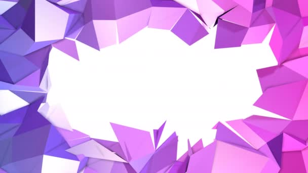 4k low poly background animation in loop. Seamless 3d animation in modern geometric low poly style with gradient colors. Creative simple background. V6 violet blue plane with copy space