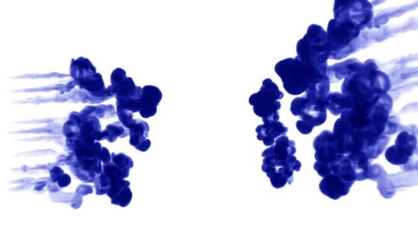 blue ink dissolves in water on white background with luma matte. 3d render of computer simulation. a lot of ink volleys move towards each other