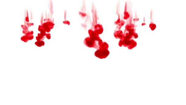 red ink dissolves in water on white background with luma matte. 3d render of computer simulation. Ink volleys as a wall of ink 3