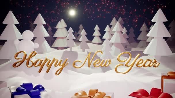 3D magický kreslený vánoční příběh s nádherným lesklým nápisem Šťastný Nový rok a vánoční dárky v zimním lese s závějemi sněhu, sněžení, měsíc a krásný ohňostroj v nočním lese. 8