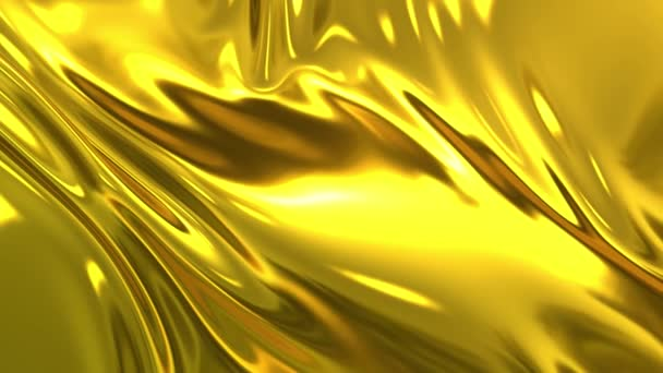 Gold silky fabric forms beautiful folds in the air in slow motion. 4k 3D animation of wavy surface forms ripples like in fluid surface and the folds like in tissue. Animated texture.