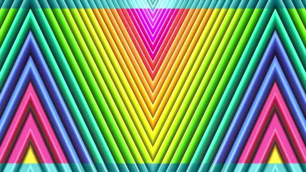 Abstraktní 3D bezešvé pozadí s barvám s přechodem v 4k. Duhové vícebarevné pruhy se pohybují cyklicky v jednoduchém kresleném tvůrčím stylu. Plynulá animace.