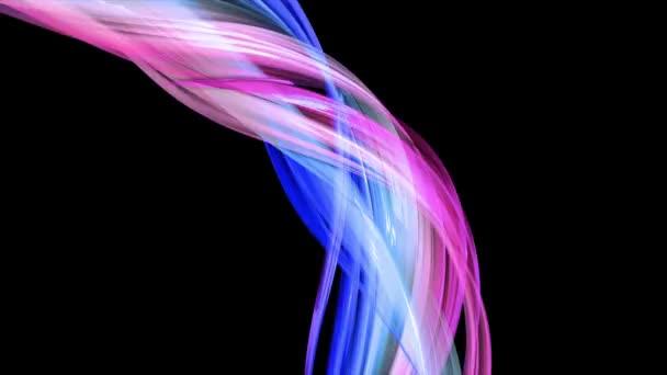 abstraktní pestrobarevné průhledné stuhy se pohybují na černém pozadí. Pohybová grafika 3D smyčka pozadí s červenými modrými stuhami. Luma matte jako alfa kanál. 1