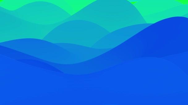 4k bezešvá smyčka s abstraktními modrozelenými gradienty, vnitřní zářící vlnitý povrch. Krásné studené barevné přechody jako abstraktní tekuté pozadí, hladká animace. 3D v plochém příjemném moderním stylu