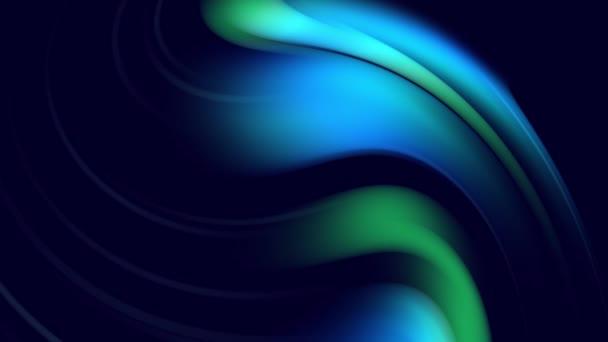 Zakřivené křivky se otáčejí jako kreativní abstraktní pozadí s tekutým abstraktním gradientem zelené modré barvy, které se pomalu mísí s kopírovacím prostorem. 4k hladká bezešvá smyčková animace. 38
