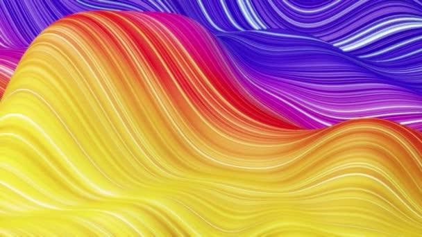 Gyönyörű elvont háttér hullámok felületén, színes gradiensek, extrudált vonalak csíkos szövet felület redők vagy hullámok folyadék. 4k hurok. Világító vonalak 2