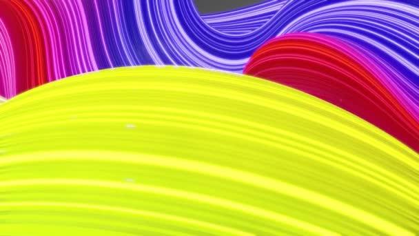 Gyönyörű absztrakt háttér hullámok felületén, szivárvány színátmenetek, extrudált vonalak csíkos szövet felület redők vagy hullámok folyékony. 4k hurok. Ragyogó vonalak. 9.