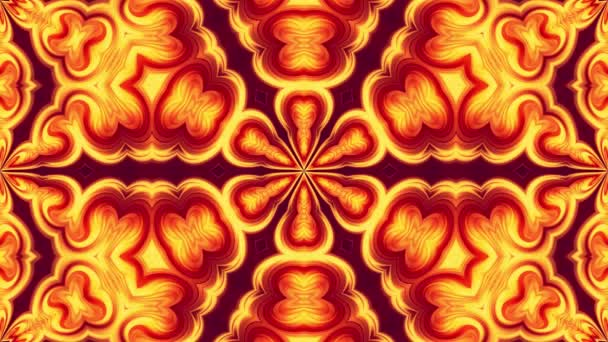 4k seamless loop abstract background with pattern ornament in form of red-yellow flower made of flowing gradients. Smooth animation. 3