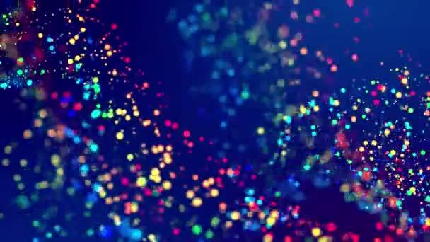fantastické slavnostní abstraktní pozadí třpytu magické mnohobarevné částice létat nebo plout ve viskózní kapaliny a záře, úžasné zářící bokeh v 4k. Luma matte jako alfa kanál. 59