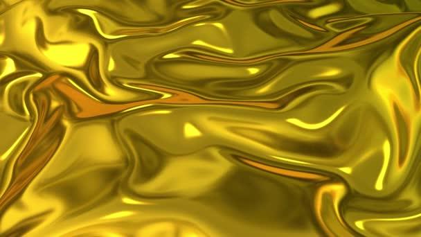 Az arany selymes szövet szép redőket képez a levegőben lassított felvételen. 4k 3D animáció hullámos felület formák fodrozódik, mint a folyadék felszínén, és a redők, mint a szövet. Animált textúra.