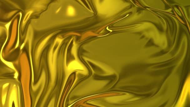 Zlatá hedvábná tkanina tvoří krásné záhyby ve vzduchu ve zpomaleném filmu. 4k 3D animace vlnitého povrchu tvoří vlnky jako v tekutém povrchu a záhyby jako v tkáni. Animovaná textura.