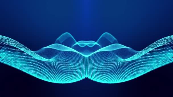 Sci-fi abstraktní téma s částicovými vlnami. 4k smyčka abstraktní modré pozadí záře částice tvoří zakřivené čáry, povrchy simmetrické struktury. Digitální pozadí s částicovým hologramem.