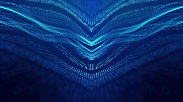 Sci-fi abstract theme with particle waves. 4k looped abstract blue background of glow particles form curved lines, surfaces simmetrical structures. Digital background with particle hologram.