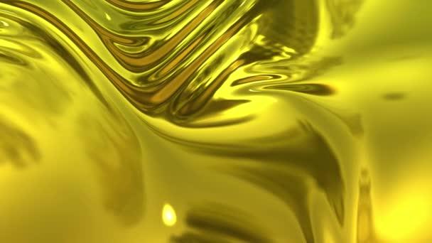 Animovaná zlatá kovová tkanina se záhyby v 4k. 3D vykreslení vlnitého povrchu látky, který tvoří vlnky jako v tekutém kovovém povrchu nebo záhyby v tkáni. Fólie se skládá zpomaleným pohybem