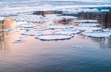 ice floes in a river during a spring ice drift close-up