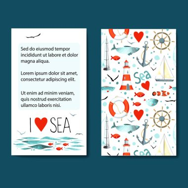 sea pattern with nautical elements