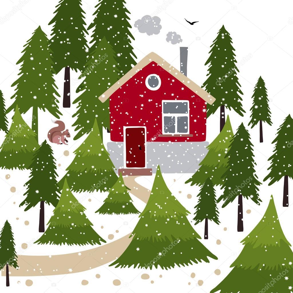 weihnachten b ume bauernhof stockvektor olga bonitas. Black Bedroom Furniture Sets. Home Design Ideas