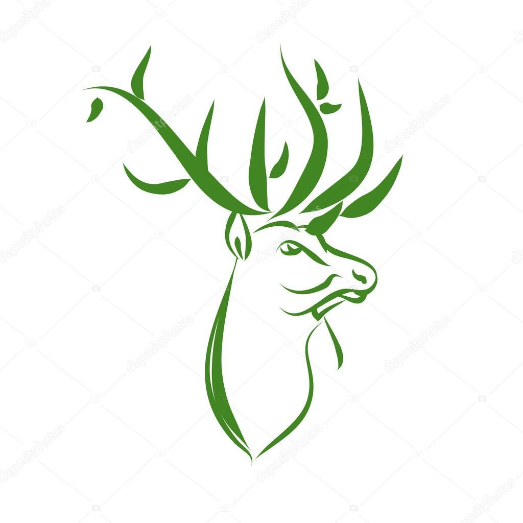 Protección animal del logo de ciervo verde — Vector de stock ...