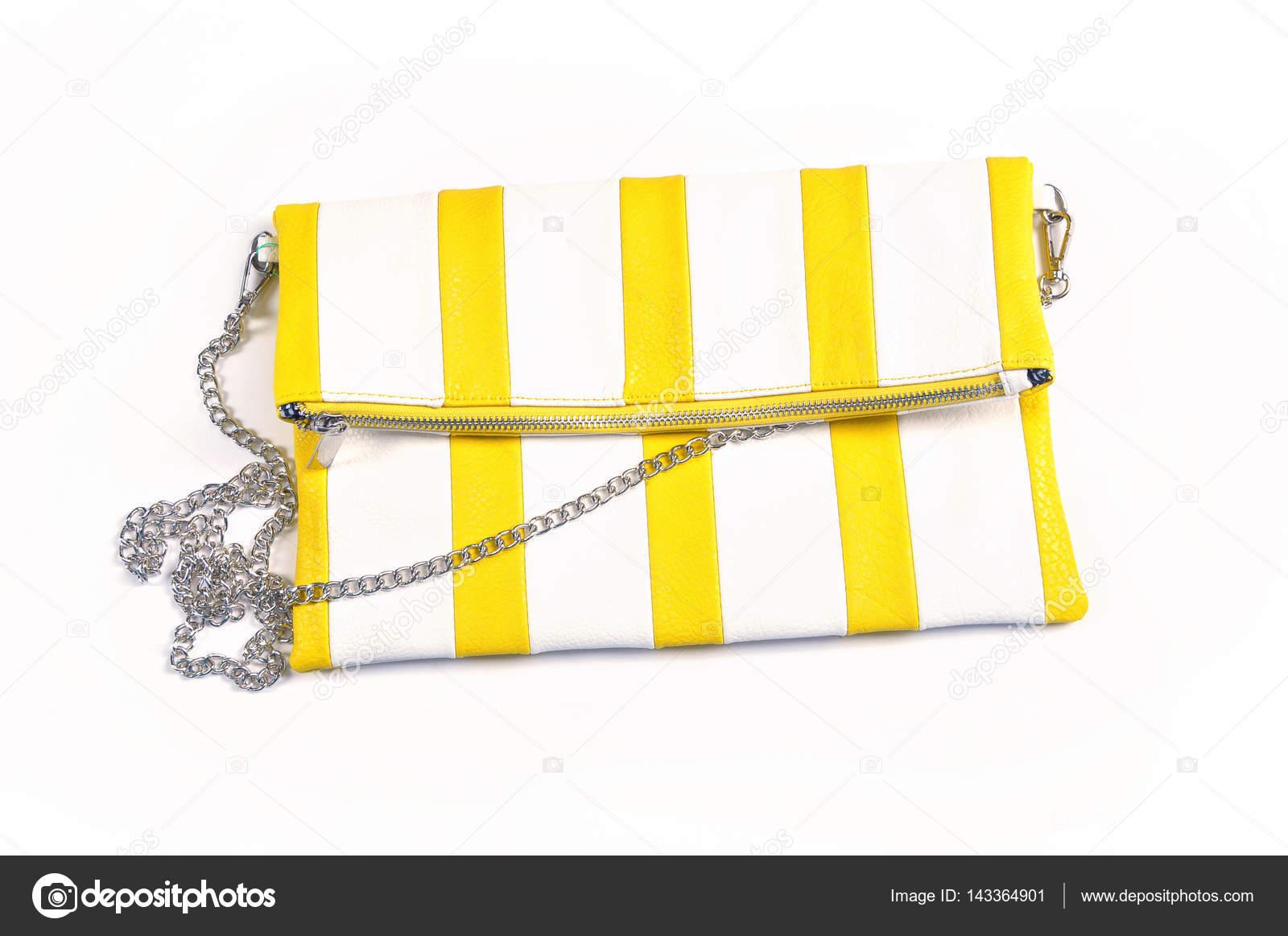 03cabdeac A bolsa pouco listrada. moda couro uma embreagem de bolsa saco em fundo  branco isolado– imagens de bancos de imagens