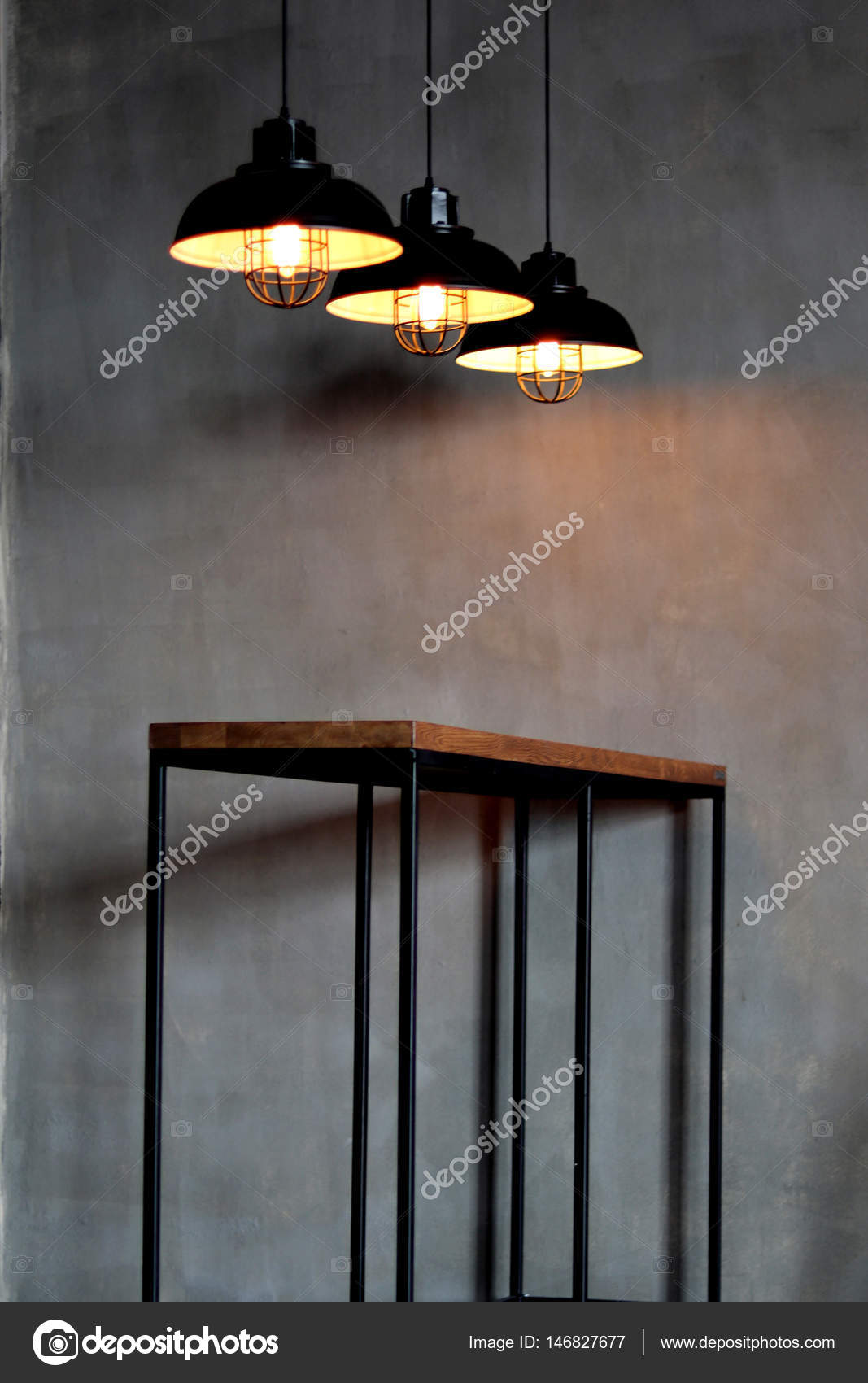 lighting industrial look. Industrial Look Pendant Lamps In A Rustic Room \u2014 Stock Photo Lighting W