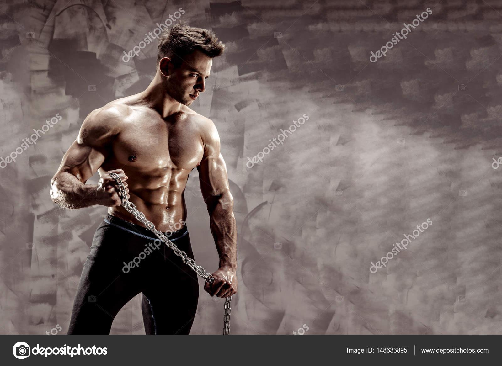 Idealne Ciało Męskie Niesamowite Kulturysta Stwarzających