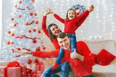 Playful happy family celebrating Christmas