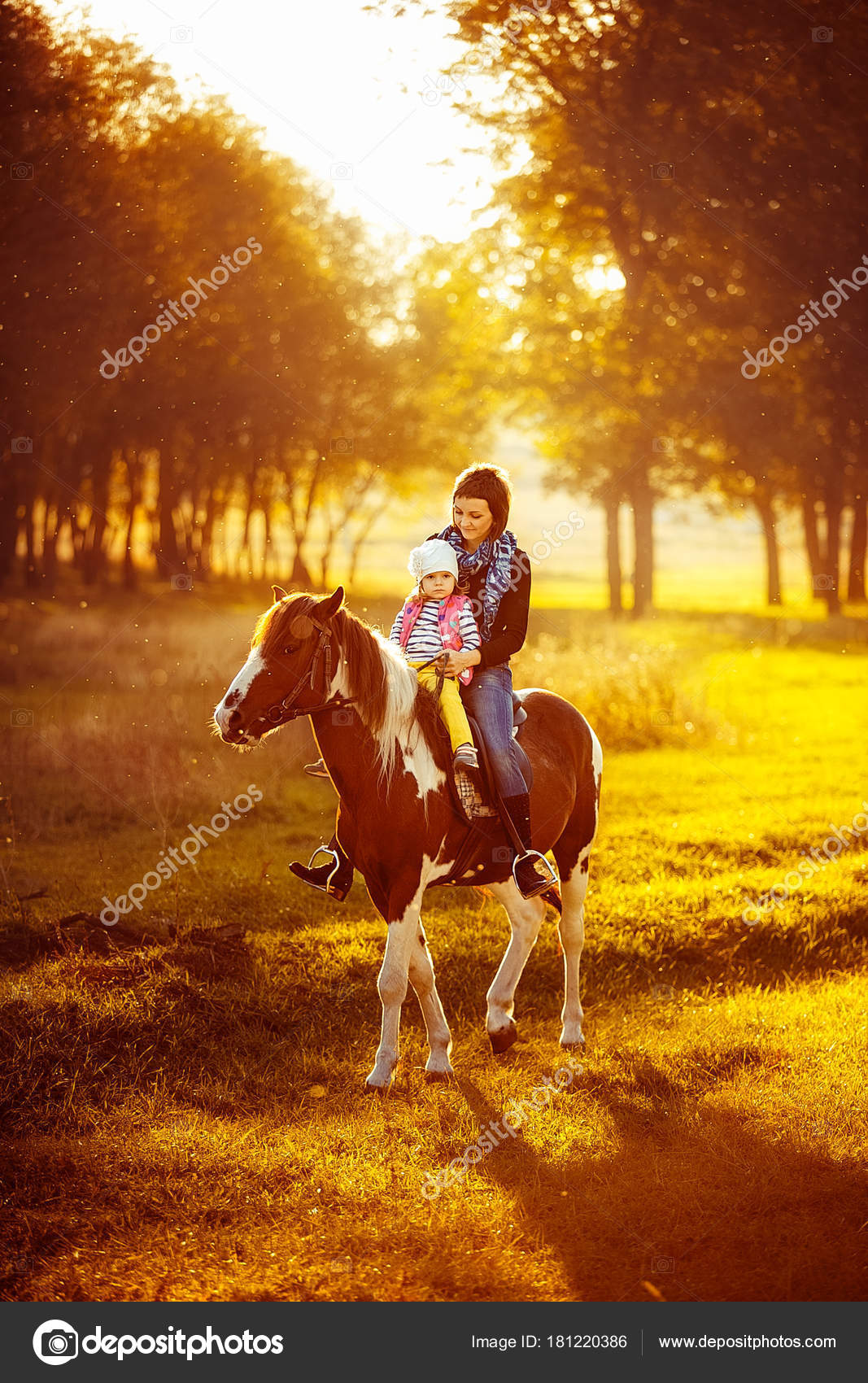 Mother And Daughter Riding A Horse Stock Photo C Zamuruev 181220386