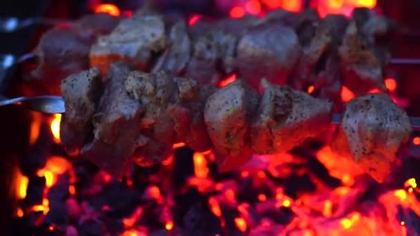 Vaření na kovový špíz grilovaný kebab. Vařené pečené maso na grilu. Tradiční východní pokrm, ražniči. Gril na dřevěné uhlí a plamen, piknik, pouliční stánky s jídlem