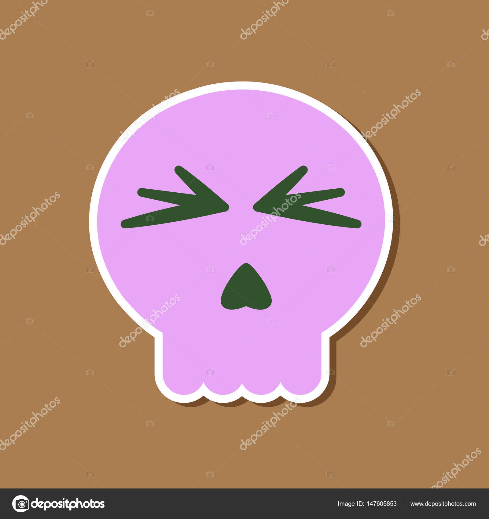 Papier-Aufkleber auf stilvollen Rahmen Halloween Emotion Schädel ...