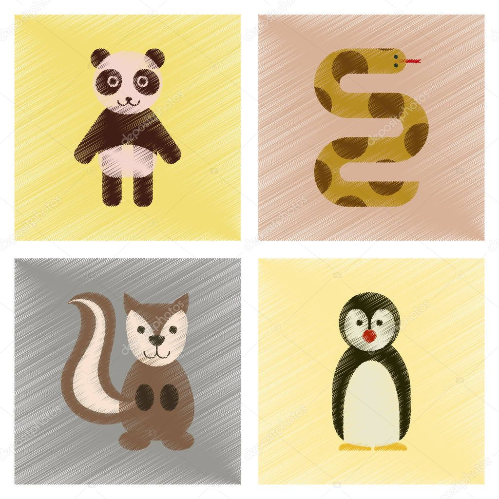 assembly flat shading style icons Panda bear snake squirrel penguins