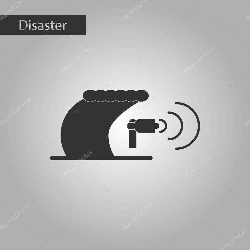 black and white style icon tsunami loudspeaker