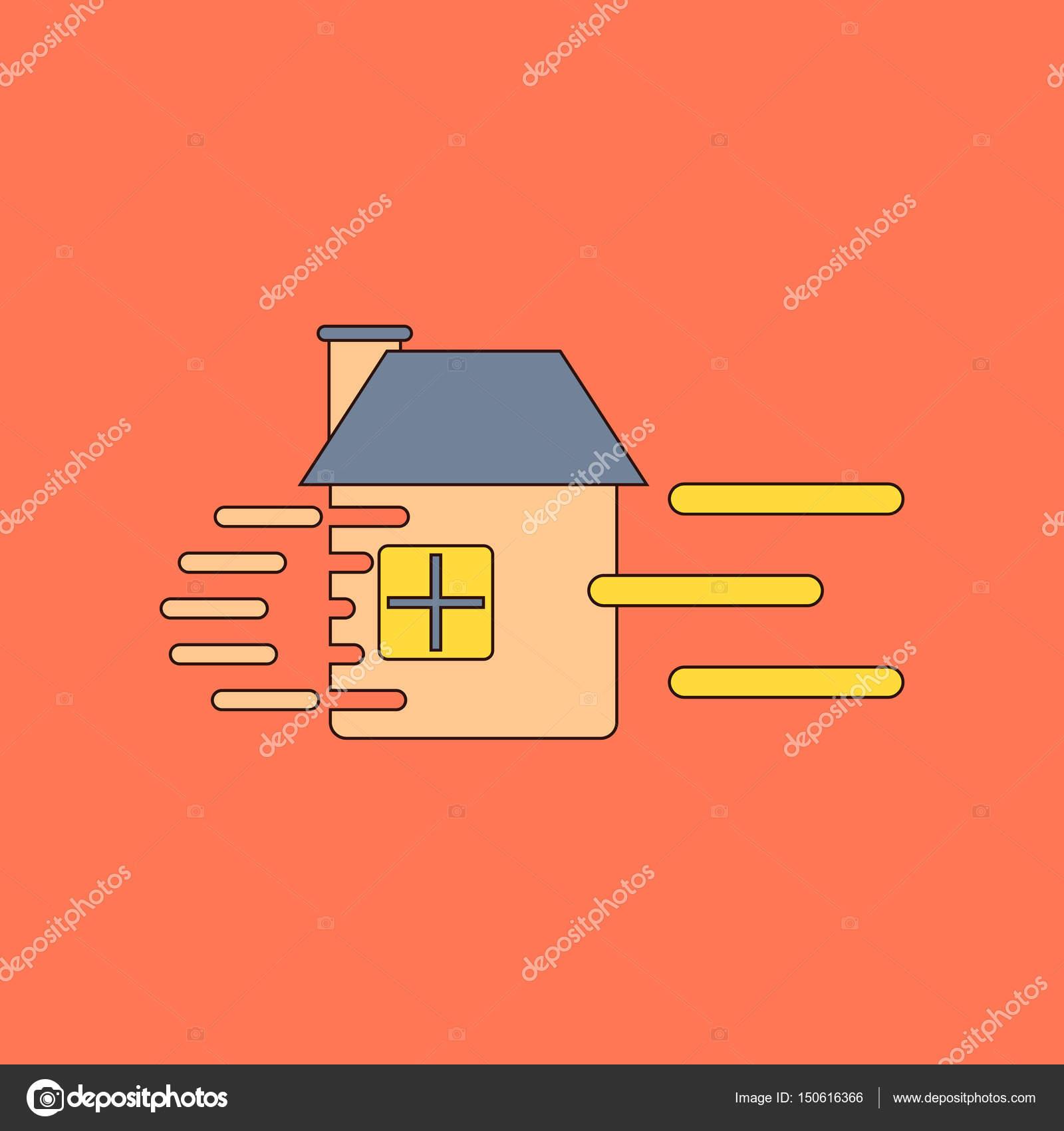flache Symbol stilvollen Rahmen Wind zerstört Haus — Stockvektor ...