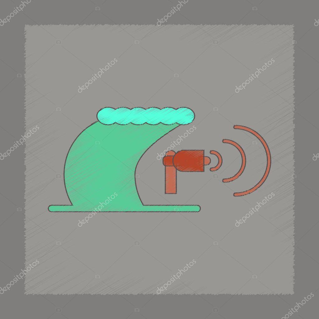 flat shading style icon tsunami loudspeaker