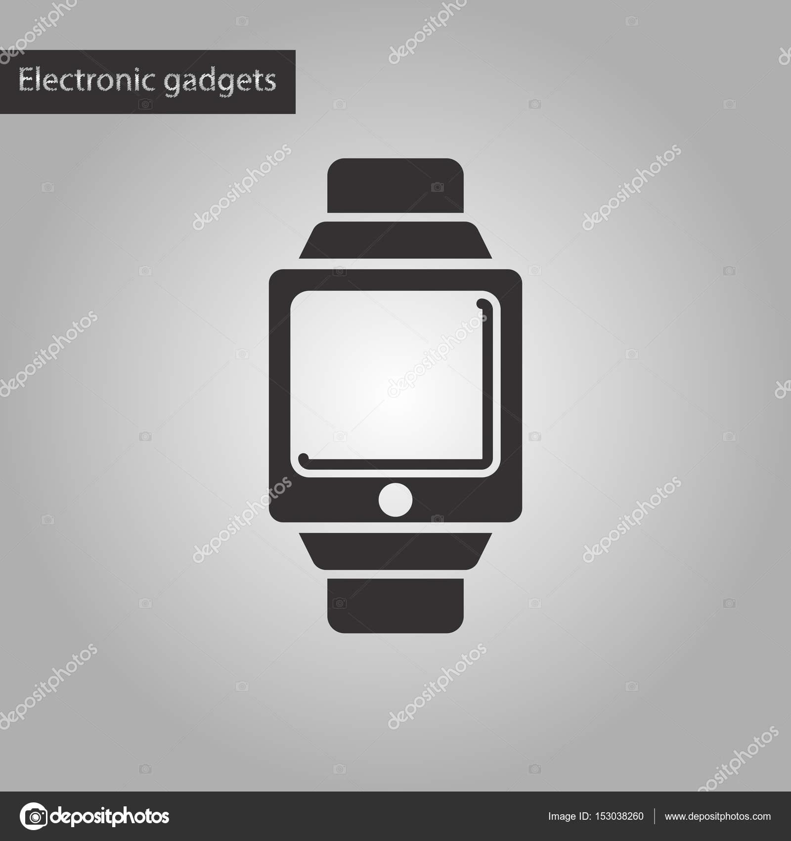 černá a bílá stylu ikona digitální hodinky — Stock Vektor ... 0c0a31e4cc