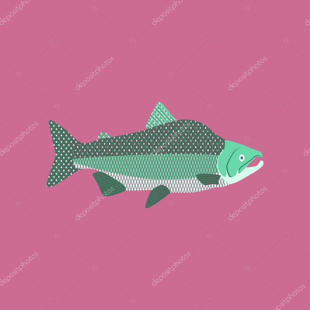 Vector illustration in flat style pink salmon
