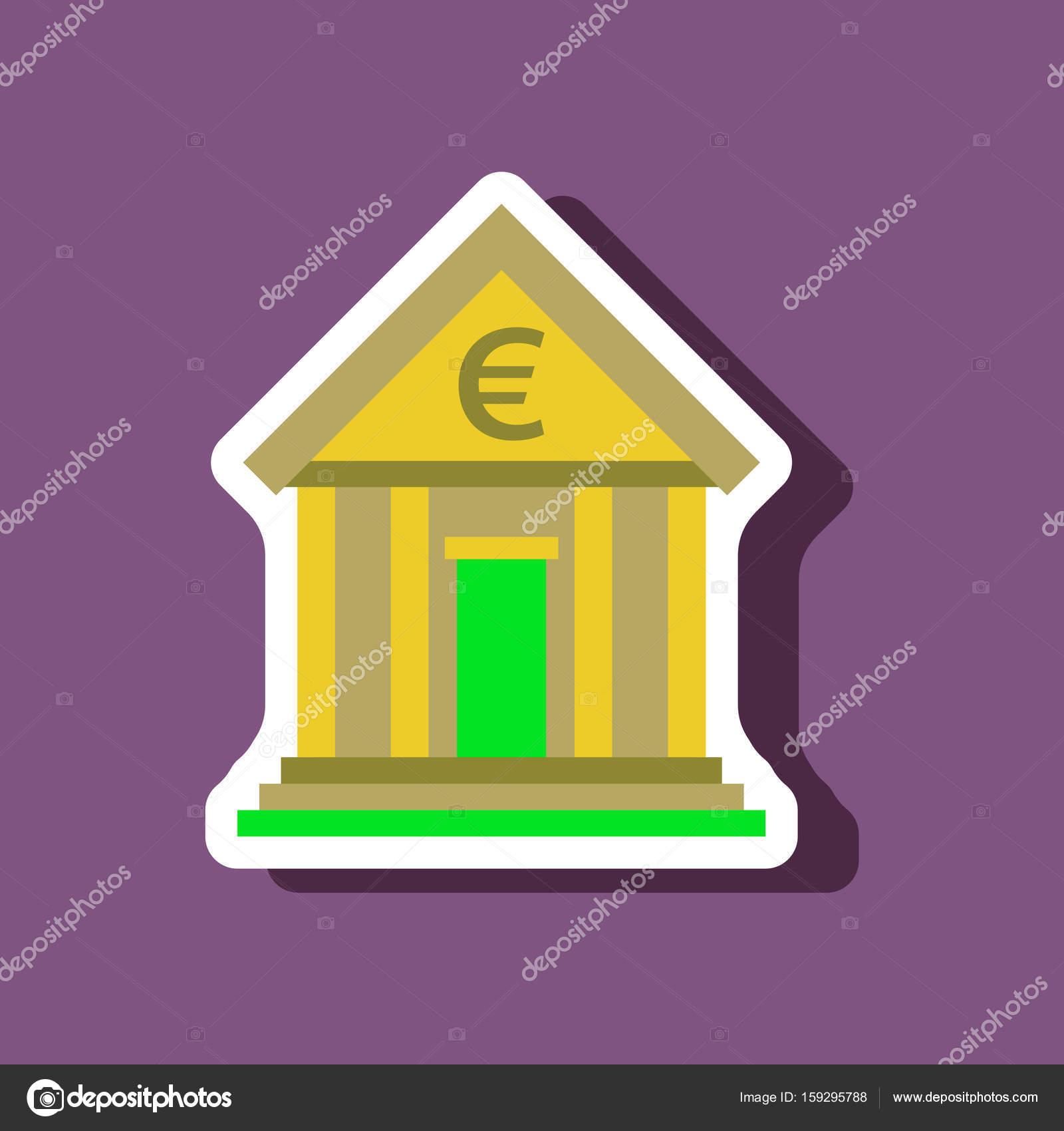 Papier-Aufkleber auf stilvollen Rahmen Bank Geschäftshaus ...