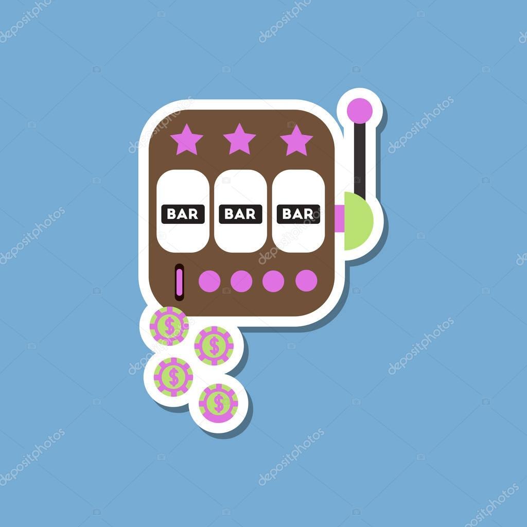 paper sticker on stylish background slot machine winnings