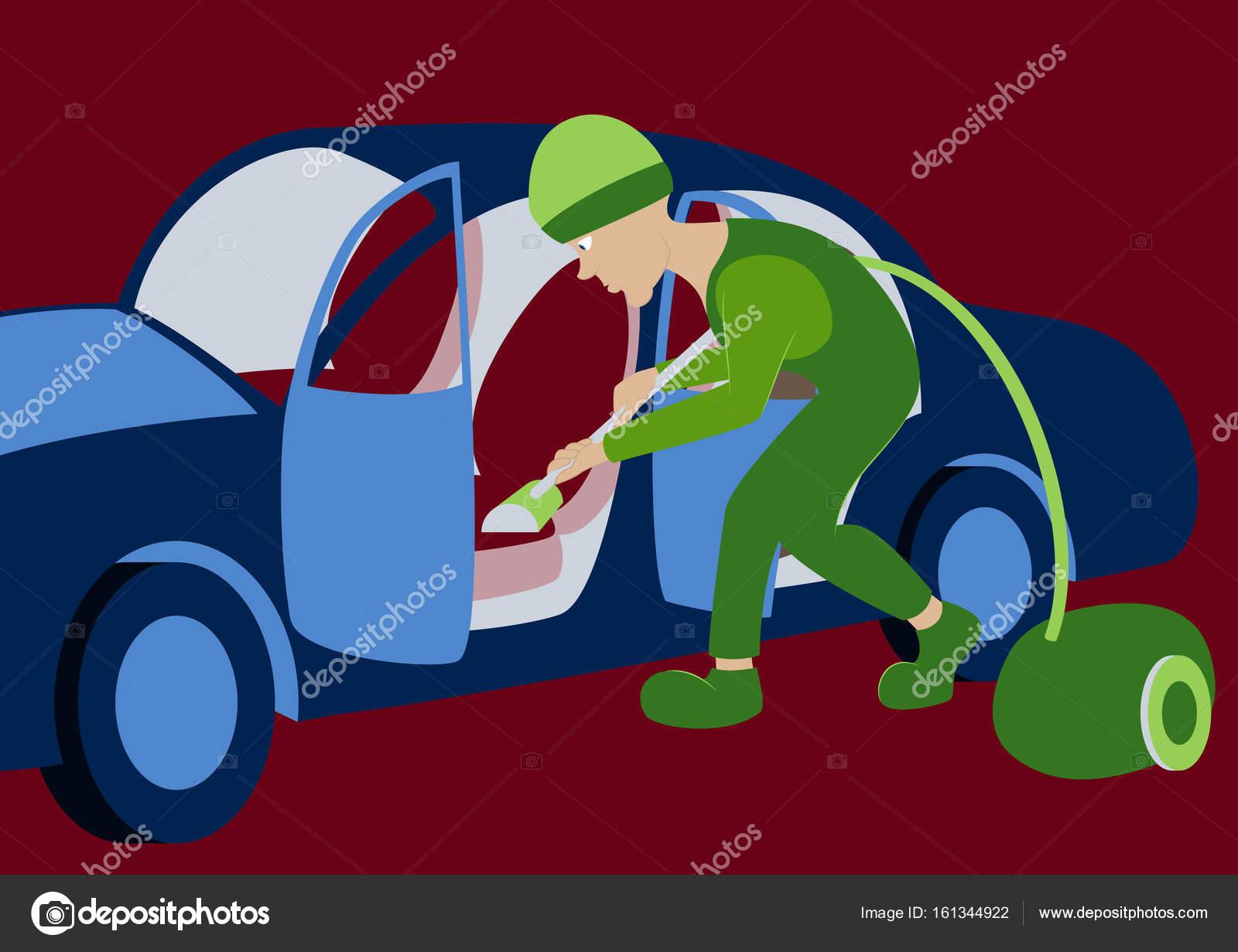 Illustration vectorielle int rieur voiture de nettoyage for Prix nettoyage interieur voiture