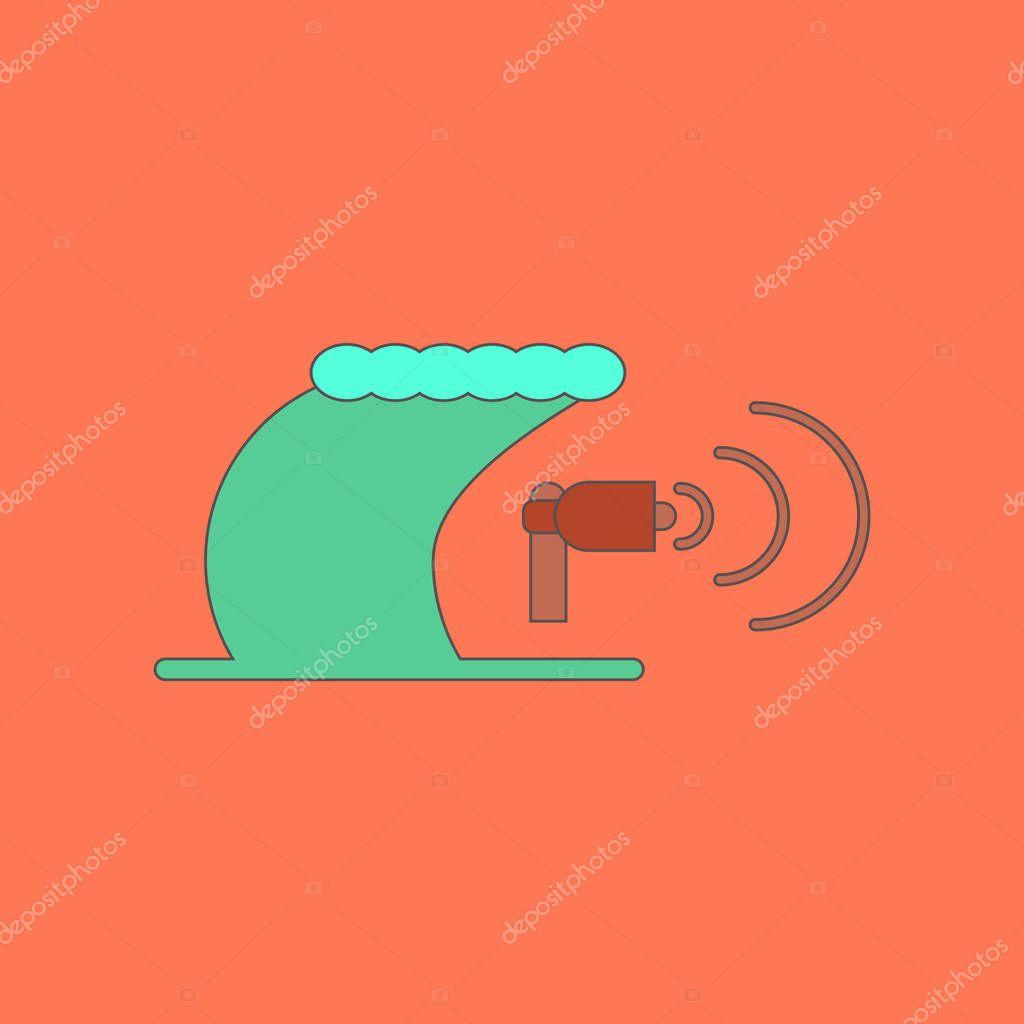 flat icon stylish background tsunami loudspeaker