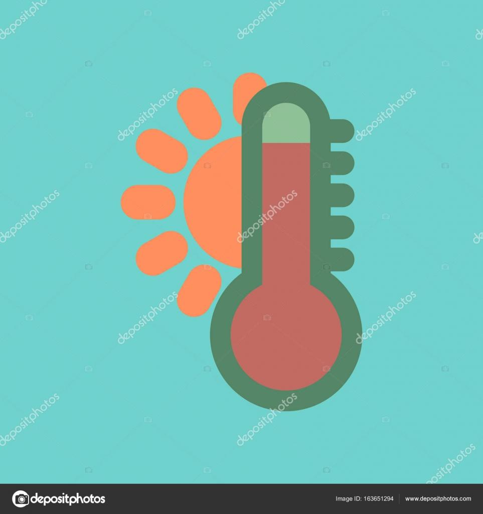 Flat Icon On Stylish Background Thermometer Hot Weather Stock