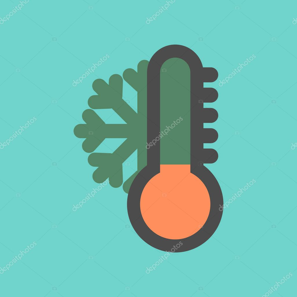assembly flat icons nature thermometer cold weather