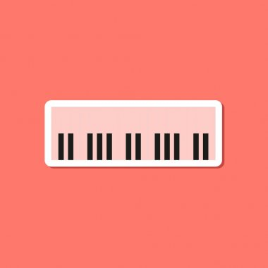 Paper sticker on stylish background piano keys